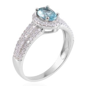 NEW Size 8 Simulated Sky Blue & White Diamond Ring